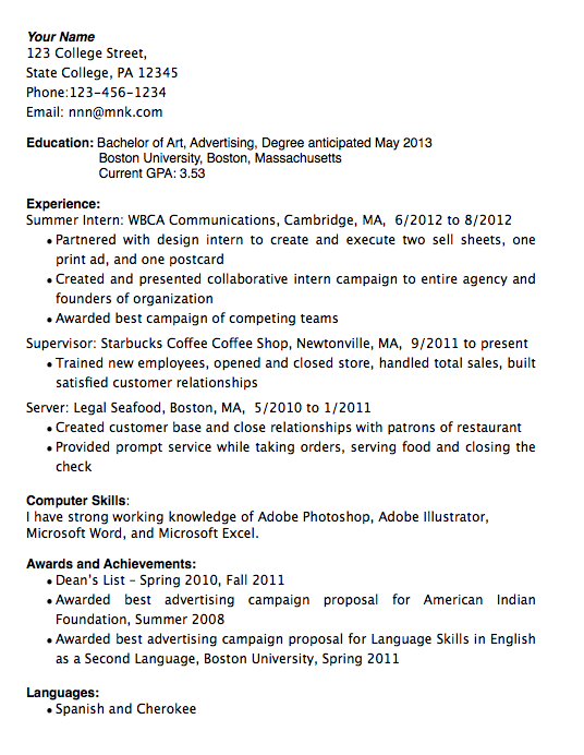 Example Of An Experienced Worker Resume  Resume Lesson Plan