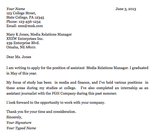cover letter example for college graduate - Example Of Cover Letter Format