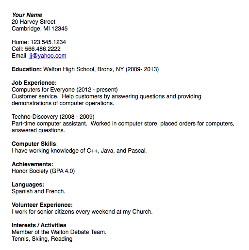 student resume sample - Example Student Resume