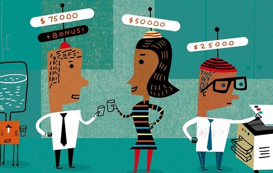 Comparing salaries among colleagues has long been a taboo of workplace chatter. Photo credit- James Yang, WSJ.