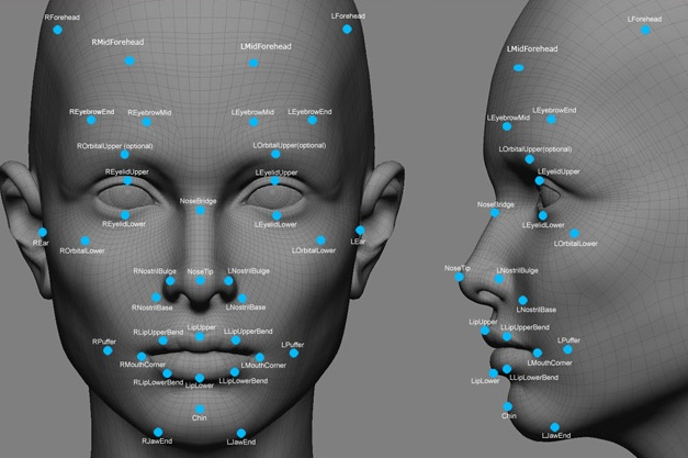 Facial mapping points for recognition software. Photo- Bloomberg Business Technology.