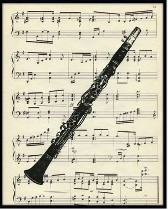 Clarinet Print Vintage Sheet Music by CharlottesArtShop. Esty.