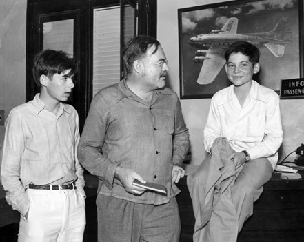 Ernest Hemingway with sons Patrick (left) and Gregory (right)-not dated. Photograph in the Ernest Hemingway Photograph Collection, John F. Kennedy Presidential Library and Museum, Boston.