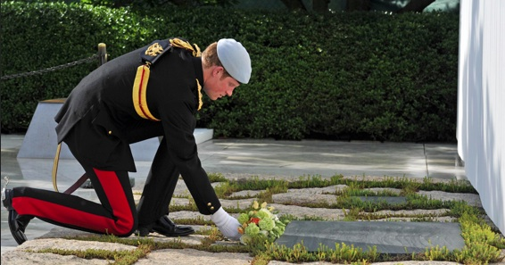 HRH Prince Harry pays respect to the fallen soldier at Arlington National Cemetery. Photo- Valentine Low , The Times UK.