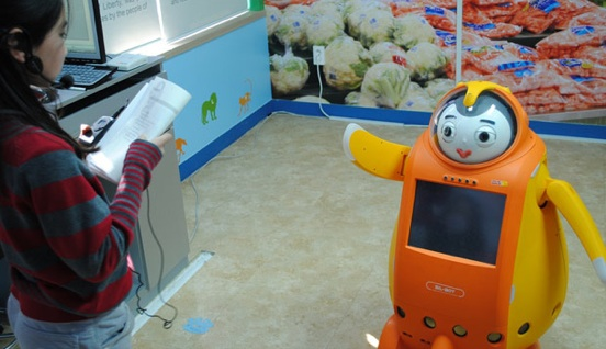English-teaching robot. Photo Purdue Education.