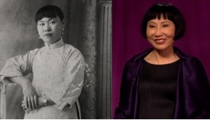 Amy Tan and photo of her grandmother. Photo- ABC news