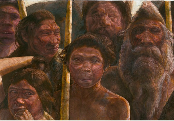 An artist's interpretation of the hominins that lived near the Sima de los Huesos cave in Spain. Javier Trueba, Madrid Scientific Films.