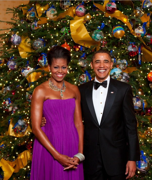 U.S. President Obama and the  First Lady celebrate Christmas.
