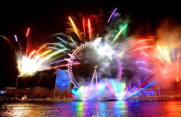 The London Eye on the River Thames during New Year fireworks and celebrations. The Telegraph.