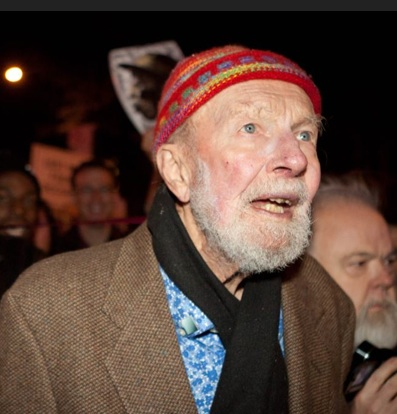 Pete Seeger marched  with nearly a thousand demonstrators sympathetic to the Occupy Wall Street protests,  New York, Oct. 21, 2011.