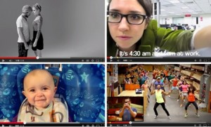 YouTube screen shots of, clockwise from top left,  viral videos of strangers kissing, a woman quitting her job, a Home Depot marriage proposal, and a baby. Credit YouTube.