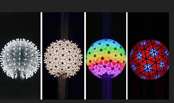 Times Square balls from 1907, 2007,  2009, and 2012.