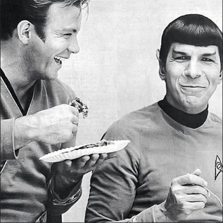 William Shatner (Captain  James T. Kirk) and Leonard Nimoy (Mr. Spock)