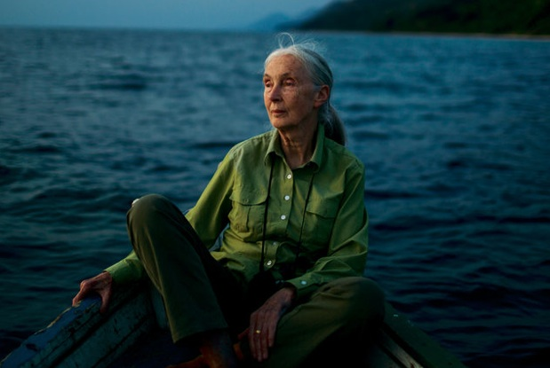 Jane Goodall on Lake Tanganyika, offshore from Gombe Stream National Park in Tanzania. Credit Michael Christopher Brown:Magnum, for The New York Times
