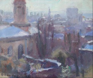Sargy Mann painting- Bristol Rooftops