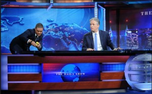 Mr. Stewart's Daily Show successor, Trevor Noah, who wandered onto the set with a tape measure.Photo credit- the wrap.com