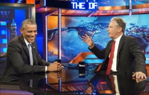 President Obama jokingly told Mr. Stewart- I'm issuing a new executive order that Jon Stewart cannot leave the show. It's being challenged in the courts. Credit: Time.com
