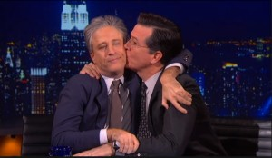 Stephen Colbert says goodbye to Jon Stewart. Credit- Comedy Central