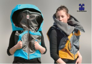 The smart squeeze jacket is a type of garment created for individuals with autism.. .it provides a sort of deep pressure therapy to create a sensory calming effect. Photo- SmartSqueeze-Uncreative.com