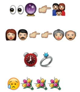 Emoji sentences used for Valentine's Day. photo- curious