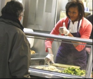 First Lady Michelle O. feeds homless in Washington DC. Photo- topnews