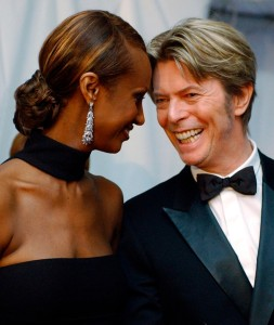 Bowie with his beautiful wife, model Iman, at the Council of Fashion Designers Awards 2002. Credit S. Plunkett, AP