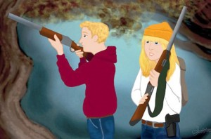 Hansel and Gretel carry guns,- NRA version -. Photo-.thesunt