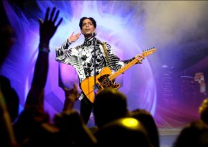 Prince performing in Los Angeles in 2009 K. Dowling