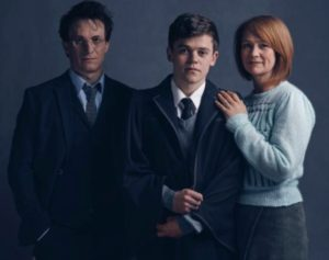 The new cast: Harry Potter (Jamie Parker), Albus Potter (Sam Clemmett) and Ginny Potter (Poppy Miller).Credit- Charlie Graytiff
