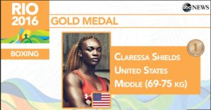 Claressa Shields wins (2nd) Gold medal in boxing.