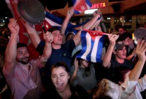 Young people in miamis-little-havana-celebrate-castros-death
